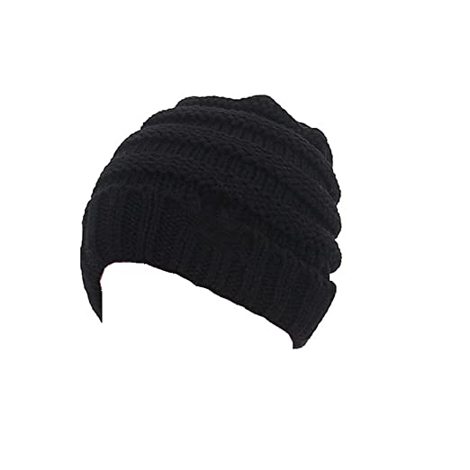 bcd4b463077 Aigemi Kids Baby Toddler Cable Ribbed Knit Children s Winter Hat Beanie Cap  (Black)