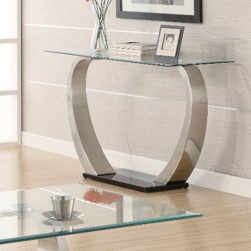 - Coaster Shearwater Rectangular Sofa Table Silver and Clear