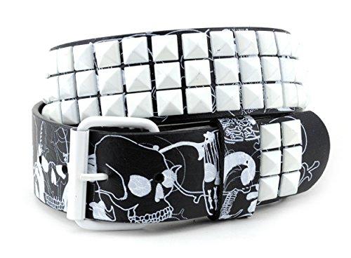 NYFASHION101 Pyramid Studded Skull Print Single Hole Genuine Leather Belt X-Large, Black/White - Belt Black Pyramid Studded