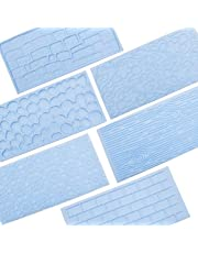 6 Packs Fondant Impression Mat Mold Set, Embossed Tree Bark/Brick Wall/Flower/Cobblestone/Stone Wall Texture Design