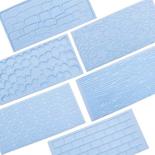 6 Packs Fondant Impression Mat Mold Set, Embossed Tree Bark/Brick Wall/Flower/Cobblestone/Stone Wall Texture Design (Brick Fondant Press)