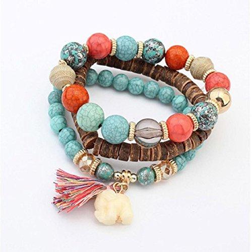 Ikevan 1Set Women Multilayer Beads Bead Handmade Bracelets Florid Cool Multicolor Bracelet (Blue)