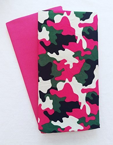 Set of 2 Jumbo Stretchable Fabric Book Covers (Pink Camo)
