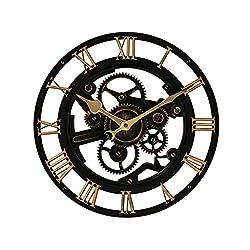 Retro Gear Mute Big Wall Clock 14Inch Industrial Style Living Room Fashion Creative Clock Roman Numerals (Color : Brown)