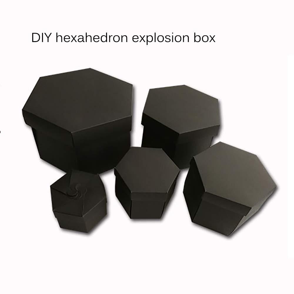 HITECHLIFE Caja de regalo de explosi/ón de 5 capas de doble cara de 12 caras Caja de regalo sorpresa de /álbum de fotos DIY Hex/ágono negro