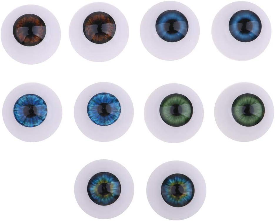 5 Pairs Oblate Doll Eyeballs Newborn Doll Accessory DIY Crafts Supplies 20mm