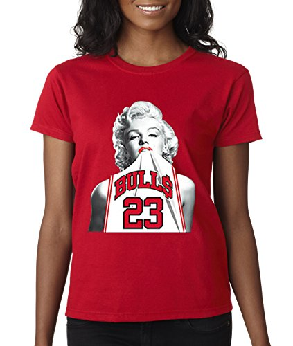 New Way 193 - Women's T-Shirt Marilyn Monroe Bulls 23 Jordan Jersey Small Red ()
