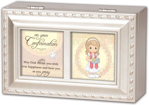 Precious Moments Confirmation Girl Cottage Garden Inspirational Champagne Silver Petite Music Jewelry Box Keepsake Plays Jesus Loves Me (Confirmation Keepsake)