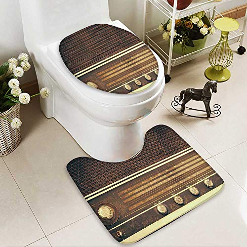- SOCOMIMI 2 Piece Extended Bath mat Set Old Antique Retro 60s Radio Music Player Loudspeakers Buttons Image Brown White 2 Piece Toilet Cover Set