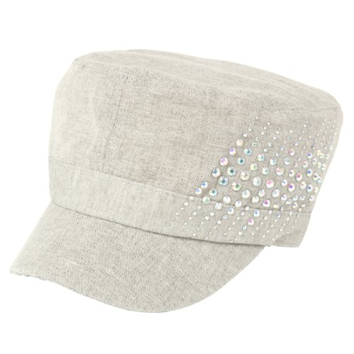 (Luxury Lane Linen Rhinestones Cadet Cap for Women Gray)