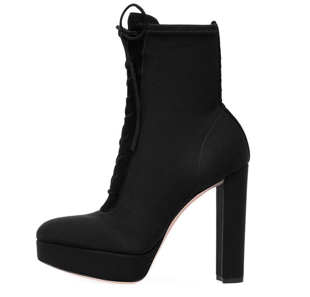 Shiney Damen Stiefeletten Winter Schwarz Wasserdichte Plattform Chunky Heel Lace Up Wildleder Große Größe High-Heels