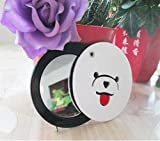 KEANER Women's Accessories Cute Mirror Mini Round Cartoon Bear Pattern Small Glass Mirrors Circles for Crafts Decoration Cosmetic Accessory