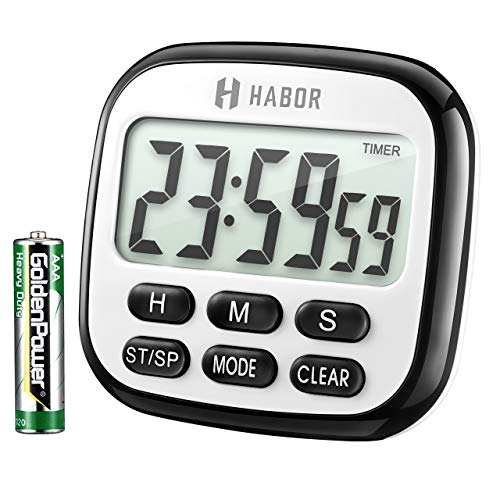 (Habor Digital Kitchen Timer, Cooking Timer, Strong Magnet Back, Loud Alarm, Memory Function, Classic Black, Standard)