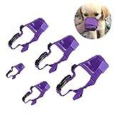 BILIGO 5 PCs Pet Dog Muzzles Mouth Covers Anti-biting Anti-barking Dog Safety Mask (Purple Mesh Covers)