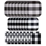 Havercamp Black and White Party Bundle | Dinner & Dessert Plates, Luncheon Napkins | Great for Lumberjack Themed Events, Rustic Birthday Party, Family Picnic