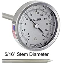 REOTEMP Heavy Duty Compost Thermometer - Dual Scale C & F (36 Inch Stem)