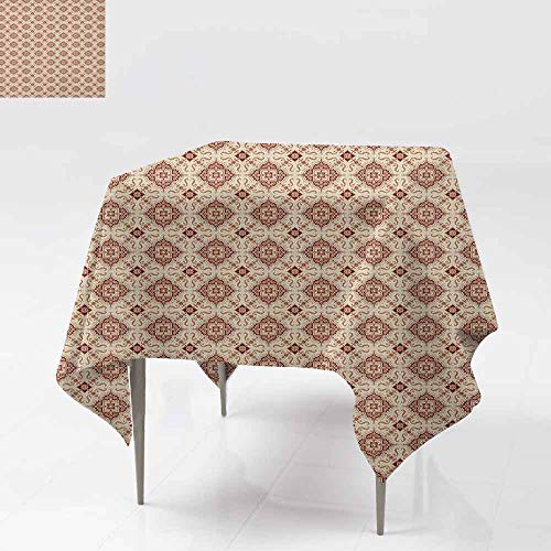 SONGDAYONE Soft Square Tablecloth Vintage Victorian Inspirations Pattern Ancient Flowers Curves and Spirals Easy to Care Beige Brown Pale Orange W63 xL63