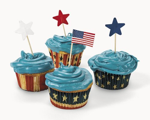 Patriotic Baking Cups With Picks (200 pc)