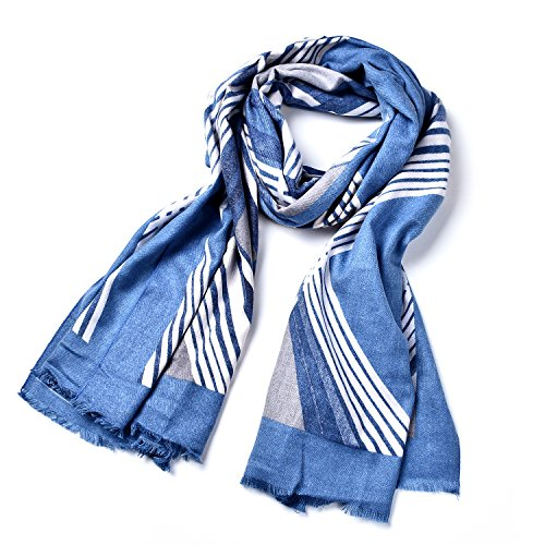 Onnea Striped Oversized Blanket Warm Pashmina Wrap Scarf (Blue)