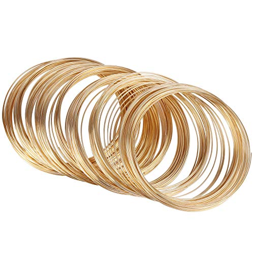 600 Jewelry Beading Wire Bracelet Making Supplies Memory Wire Cuff for Jewelry DIY Gold (Wire Cuff)
