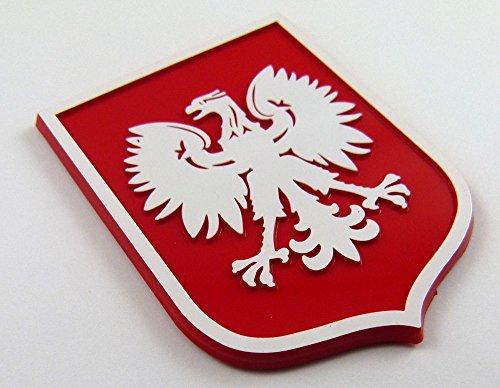 Poland Eagle Red White Polska plastic car emblem decal sticker crest PRW