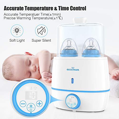 51ZWPaD7slL - Baby Bottle Warmer & Bottle Sterilizer, Eccomum 6-in-1 Double Bottle Warmer For Breast Milk, Baby Food Heater With LCD Display Accurate Temperature Control, Constant Mode, Fit All Baby Bottles