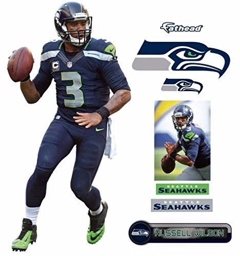 Russell Wilson FATHEAD + Seattle Seahawks Logo - Set of 5 NFL Vinyl Wall Graphics 17