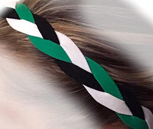 It's Ridic! No Slip Grip /Non-Slip Sports / Athletic Nylon Triple Braided Sports Headband (Green | White | Black)