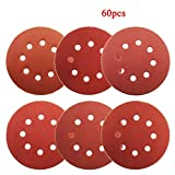 Dyna-Living 60Pcs Sanding Discs 5 Inch 8 Holes, 1000/800/600/400/320/240 Grit Sandpaper for Random Orbital Sander by