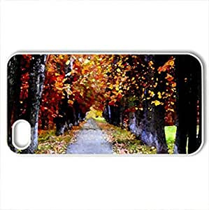 AUTUMN LANE - Case Cover for iPhone 4 and 4s (Forests Series, Watercolor style, White)