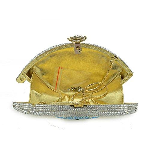 De De Mode Chaîne Sac De Sac Luxe à D'embrayage Sac Banquet Strass De Dîner De Mariée De De Diamant Sac De Soirée Sac De Dames De Main silver Plein 5A44aq