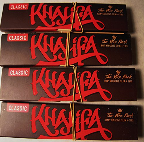 Wiz Khalifa Raw Connoisseur King Size Slim Rolling Papers With Tips 4 Packs (Khalifa Paper Wiz Tips)