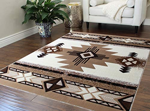 Southwest Native American Design Area Rug 8 Feet X 10 Feet, Ivory