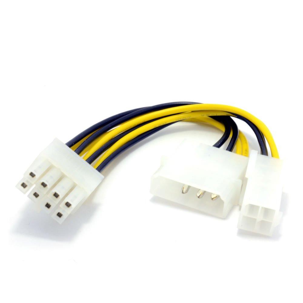 kenable 4 Pin ATX & 4 Pin LP4 Molex to 8 Pin EPS Power Adapter ...