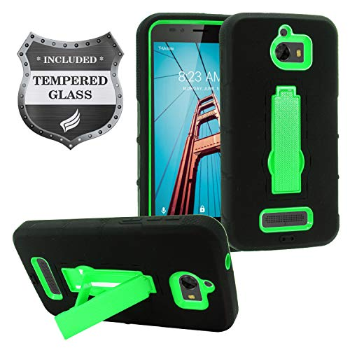 (Coolpad Defiant 3632A - Hybrid Armor Protective Case with Stand + Tempered Glass Screen Protector - Green/Black)