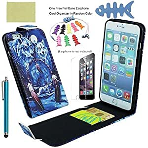 DD PU Leather Full Body Cases Includes Screen Protector and Fishbone and Stylus for IPhone 6 Plus