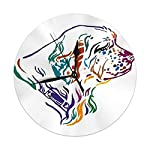 Yxungdiy Modern Decorative Round Wall Clock Colorful Outline Portrait Dog Clumber Spaniel Battery Operated 9.8IN 4