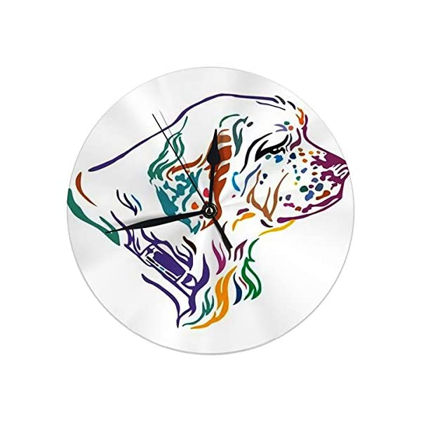 Yxungdiy Modern Decorative Round Wall Clock Colorful Outline Portrait Dog Clumber Spaniel Battery Operated 9.8IN 1