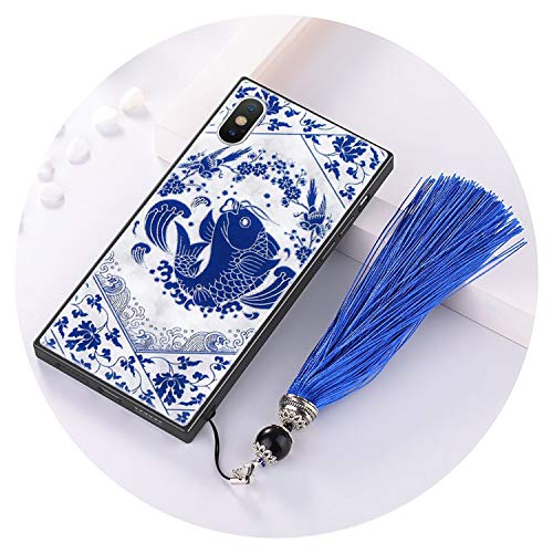 China Style Blue White Porcelain Marble Case iPhone Luxury Square Tempered Glass Cover,Fish Tassel iPhone 8 - Phone Style Porcelain
