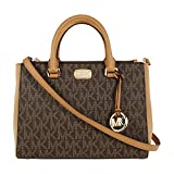 Michael Kors Kellen Medium Satchel Crossbody Bag (Brown pvc)
