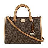 Michael Kors Kellen Medium Satchel Crossbody Bag (Brown pvc)