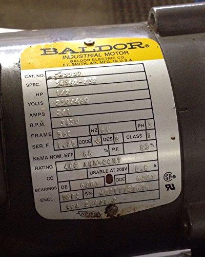 0.5 Hp Industrial Motor (Baldor CM3537 General Purpose AC Motor, 3 Phase, 56C Frame, TEFC Enclosure, 1/2Hp Output, 3450rpm, 60Hz, 230/460V Voltage)