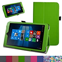 "iRULU Walknbook 3Mini Case,Mama Mouth PU Leather Folio 2-folding Stand Cover for 8"" iRULU Walknbook 3Mini / 8 Inch Windows 10 Tablet,Green"