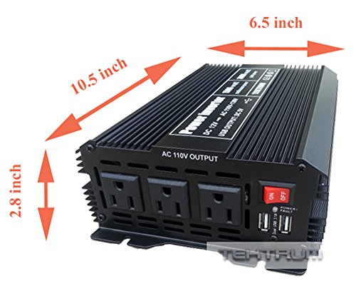 Tektrum 1500W Power Inverter 12V DC to 110V AC, 3 AC Outlets, 2 USB Ports, Intelligent Cooling Fan, Battery Cables Best for Computer, Laptop, Fan, TV, mini-Fridge, Window A/C, Smart Phone by Tektrum (Image #2)