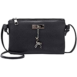 Clearance Sale! ZOMUSAR Women Fashion PU Leather Zipper Small Deer Splice Handbag Shoulder Shell Bag Shiny Crossbody Tote Bag (Black )