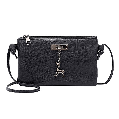 Clearance Sale! ZOMUSAR Women Fashion PU Leather Zipper Small Deer Splice Handbag Shoulder Shell Bag Shiny Crossbody Tote Bag (Black ) ()