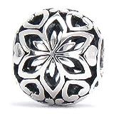 Authentic BELLA FASCINI Christmas Poinsettia Flower Bead Charm - 925 Silver - Fits European Bracelets