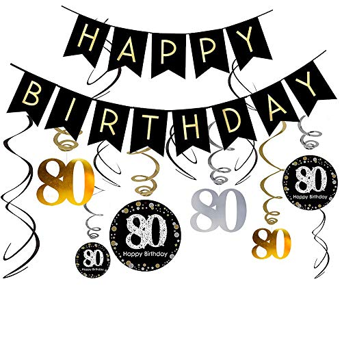80th Birthday Decorations Kit- Gold Glitter Happy Birthday Banner & Sparkling Celebration 80 Hanging Swirls-80th Anniversary Decorations -