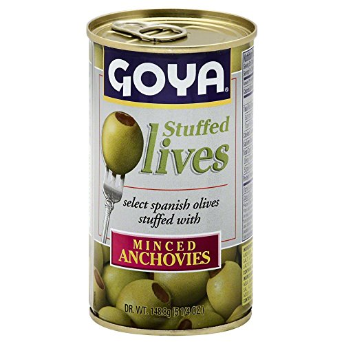 Olives Stuffed Pimiento (Goya Manzilla Green Olives Stuffed with Anchovies, 5.25 Ounce Can of Spanish Anchovy Olive)