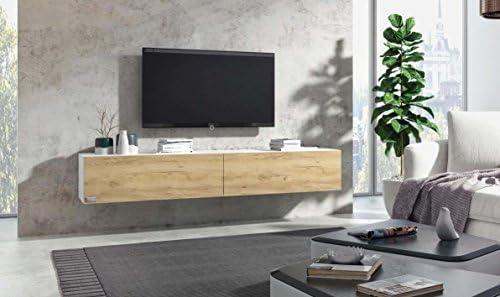 Wuun Tv Board Hangend 8 Grossen 5 Farben 280cm Matt Weiss Eiche Mit Reliefstruktur Lowboard Hangeschrank Hangeboard Wohnwand Hochglanz